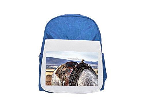 Sillín, Caballo, Cowboy, Western, Mochila azul estampada de campo, mochilas lindas, mochilas pequeñas lindas, mochila negra, mochila negra fría, mochilas de moda, mochilas grandes de moda, negro f