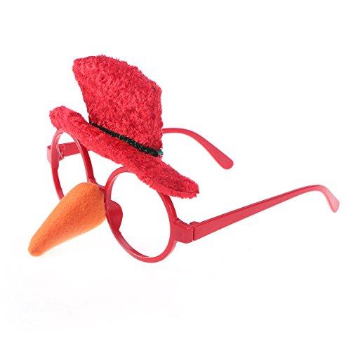 Tomister Weihnachten Lustige Brille Rahmen Schneemann Hut und Nase Sonnenbrille Neuheit Kostüm Gläser Ohne Objektive für Weihnachten Party Gefälligkeiten (Schneemann Nase Kostüm)