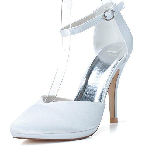Slip Engen (Elobaby Frauen Hochzeit Schuhe L0255-22 Abend Party Prom Slip auf Enge Zehe Smart Satin Kleid Pumpen, White, 38)