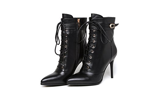 Qin & X Femmes Stiletto High Heels Bottines Pointues Chaussures Noires