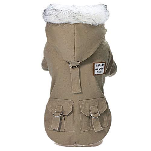 Manteau avec Capuche Chien Petite Taille Chiot Doux Mignon Mode Respirant Confortable Military Pet Vestes avec Pattes en Coton Chaud Hiver VêTement (S, Kaki)