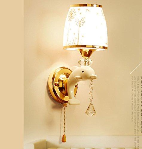 Kreative Persönlichkeit Dolphin LED Wandleuchte Schlafzimmer Nachttisch einfache moderne Hintergrund Wand ziehen Schalter Kinder Wandleuchte warmen Lichteffekt (Mundgeblasenes Wandlampen Glas)