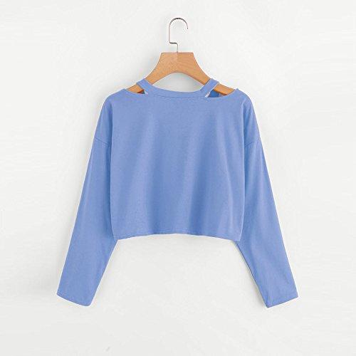 LEvifun Donna Moda Magliette Stampa Tagliare Spalla Casual Allentata T-Shirt Manica Lunga Camicia Pullover Tops Bluse Blu