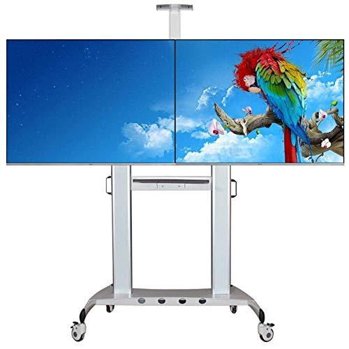 KBKG821 Roll-TV-Ständer mit Zwei Bildschirmen, für 40-60 Zoll LCD-Flachbildfernseher mit LED-Anzeige für Drahtmanagement 360 ° Schwenk - 60in Lcd