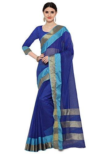 AppleCreation Women's Silk Saree With Blouse Piece (Linen Silk Sarees_Lnn118_Blue)
