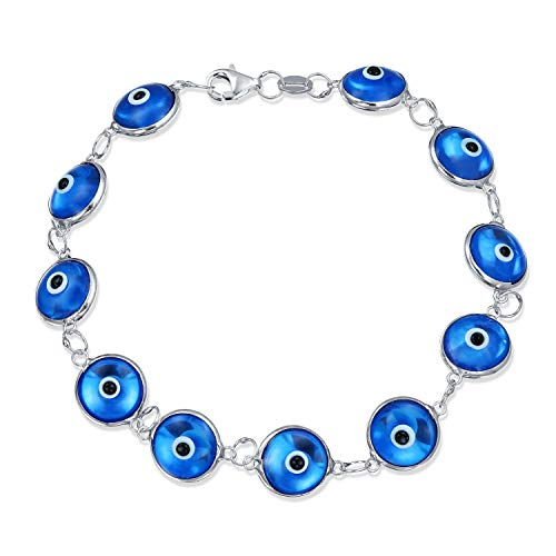 Turkish Multi Translucent Blue Evil Eye Glass Bead Bracelet For Women For Protection And Good Luck 925 Sterling Silver