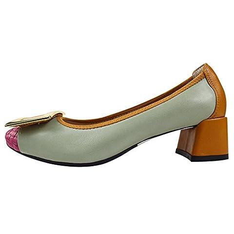 Mesdames Femmes Slip On Sheepskin en cuir mi-talon Chaussures Chunky
