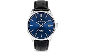 Vincero Luxury Men's Kairos Wrist Watch — Blue dial with Black Leather Watch Band — 42mm Analog Watch — Japanese Quartz Movement