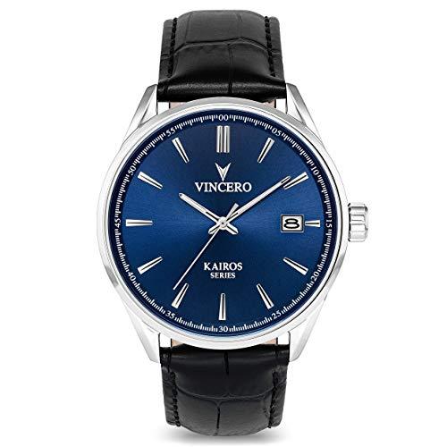 Vincero Luxus Kairos Herren Armbanduhr - Blaues Zifferblatt mit schwarzem Lederarmband - 42 mm Analoguhr - Japanisches Quarz Uhrwerk