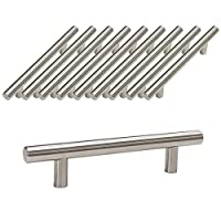 Probrico Brushed Nickel Stainless Steel Kitchen Cabinet T Bar Handle Furniture Drawer Pulls Cuoboard Knobs PD201HSS96(96mm Hole centers/160mm Long) 10 Pack