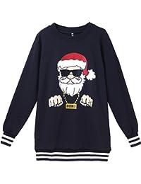 EOZY Sweat-Shirt Noël Père Hiver Noir Sport Amoureux Imprimé Party Rayure