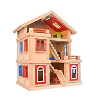 Awzzrs Kids Wooden Dollhouse Dolls House Furnitures Couture Dolls House Three-storey large villa set