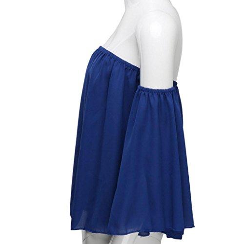 Yogogo Langarm Pullover T-Shirt Aus Schulter Lässige Bluse für Frauen Blau