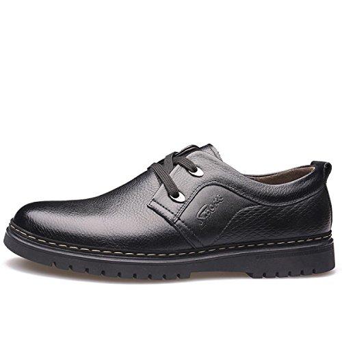 GRRONG Chaussures En Cuir Pour Homme En Cuir Véritable Loisirs Noir Marron Black