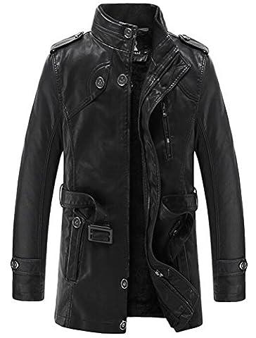 Vogstyle Herrn Winterjacke Kunstleder Lederjacke Pelz Fleece Mantel Jacken Art 2 Schwarz M