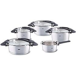 Fissler Batterie de cuisine 5 pièces, 4 faitouts avec couvercle, 1 casserole,Tous feux dont induction, Inox 18/10, Intensa