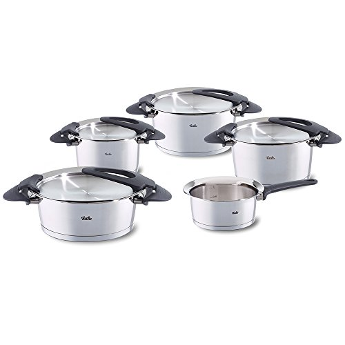Fissler Topfset intensa - 5-teiliges, innovatives Kochtopfset mit intelligenten Funktionen - Deckelablage, Abgießfunktion - Stapelbar - 016-118-05-000/0