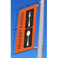 Signworld Street Light Pole Banner Bracket with Custom 24x36 Print by Signworld