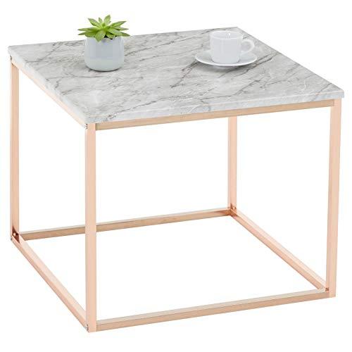 IDIMEX Beistelltisch ROMI, Couchtisch Sofatisch quadratisch, MDF Tischplatte mit Marmor Optik in weiß, Metallgestell rosé Gold
