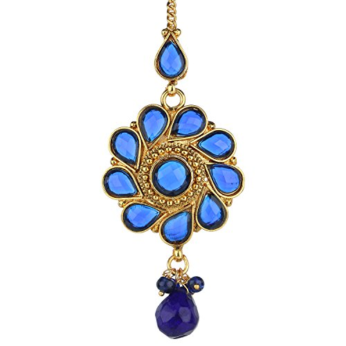 Adiva Antique Tika Blue Copper Mang Teeka Maang Tikka for Women