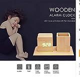 ksjdjok Despertador Reloj Despertador De Madera Equipado con Estuche para Bolígrafos Relojes Digitales Silenciosos 12H / 24H Tiempo Pantalla Led Relojes De Mesa De Escritorio para Niños Regalo
