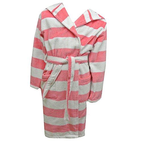 Sanetta - Frottee Bademantel mit Kapuze gestreift Mädchen, weiß-rosa - 176peach skin