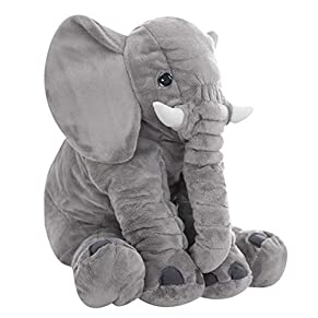 Uni-Wert Elefante de Peluche 60 cm, Gris Lindo Elefante Juguetes Blandos Animales Almohada Relleno Grande Juguete de Peluche Regalo Muñecas de Peluche para Bebé / Niños