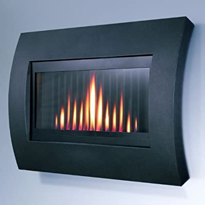 Flavel Natural Gas Fire - Curve Wall Mounted - Modern - Black