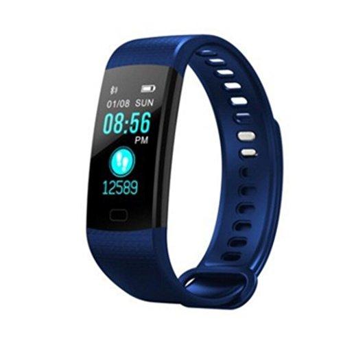 WLH Fitness Armbänder mit Herzfrequenz, Wasserdicht Activity Tracker mit Schrittzähler, Smartphone Smart Schlaftracker Kalorienzähler Smart Uhren,Blue