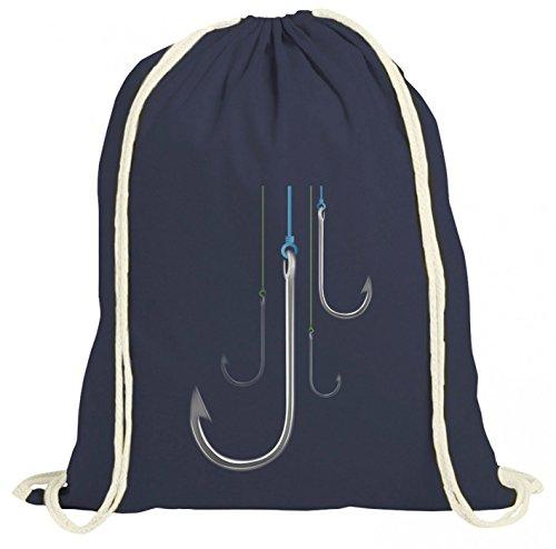Shirt Happenz Angelhaken #1 Premium Turnbeutel | Angeln | Fischen | Angelausrüstung | Gymbag, Farbe:Navyblau (Gymbeutel);Größe:37cm x 46 cm -