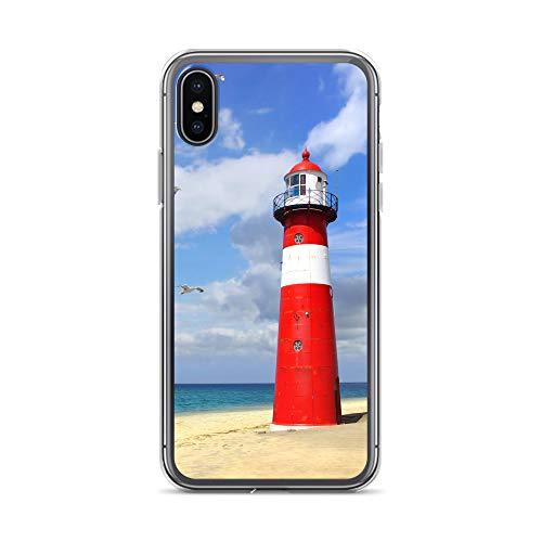 blitzversand Handyhülle NORDSEE WATT kompatibel für LG K10 2017 Leuchtturm rot weiß Schutz Hülle Case Bumper transparent rund um Schutz M7 -