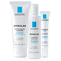 La Roche-Posay 100ml Gel Cleanser and Clarifying Solution with Acne Treatment (20ml) - Pack of 3