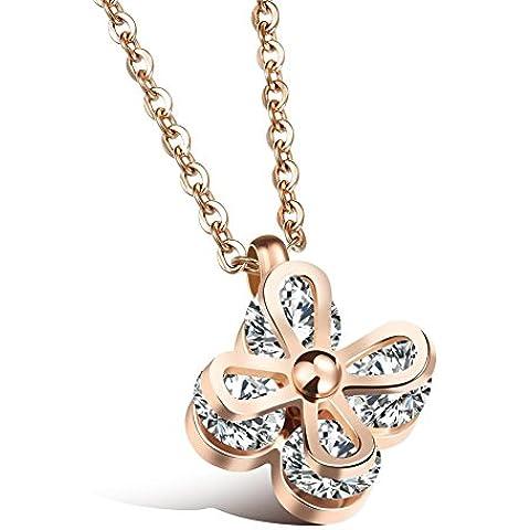 Catena di classico cristallo austriaco collana trifogli stile collare osseo , rose gold