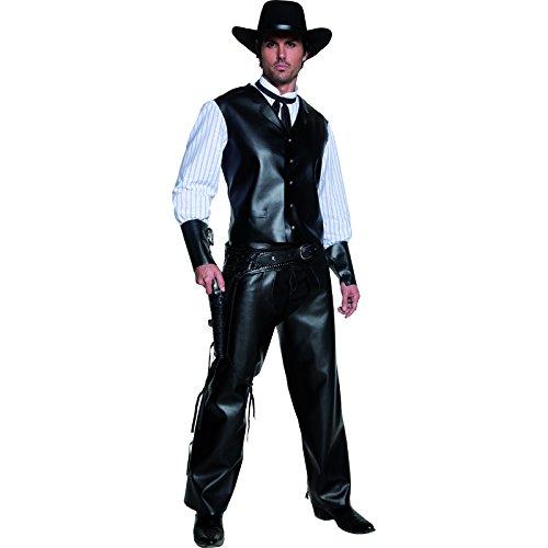 Smiffys, Herren Revolverheld Kostüm, Weste mit Hemdattrape, Chaps und Fliege, Western, Größe: M, (Cowboy Chaps & Kostüme Schwarze Weste)