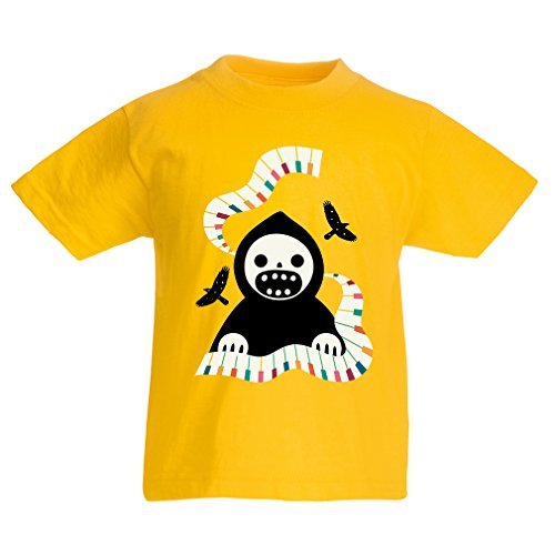 lepni.me Kinder Jungen/Mädchen T-Shirt Halloween Horror Nights - The Death is Playing on Piano - cool Scarry Design (1-2 Years Gelb Mehrfarben)