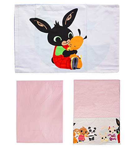 Bing completo lenzuola letto baby culla lettino con sbarre 100% cotone (bimba/rosa)