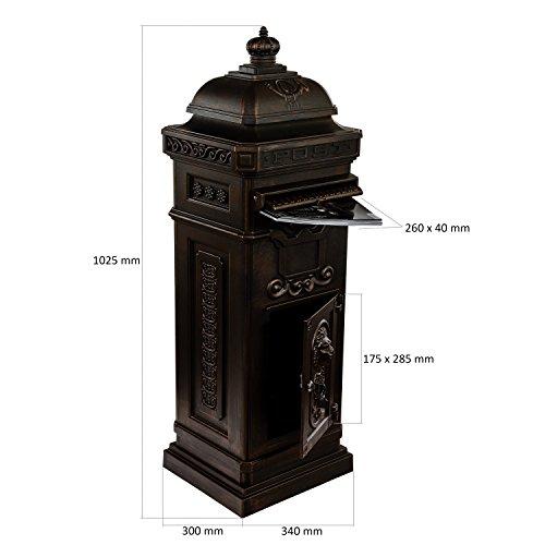 Antiker englischer Standbriefkasten aus rostfreiem Aluminium, Höhe: 102,5 cm, Farbe: Bronze - 3