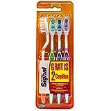 Signal - Pack de 4 cepillos de dientes manuales, dureza media