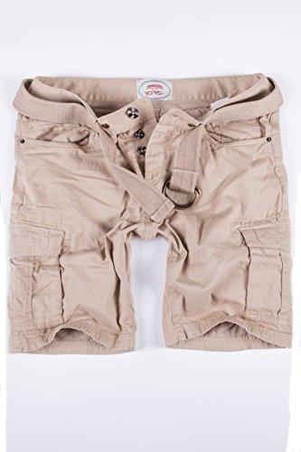 Merish Pantaloni Uomo pantaloncini cargo, pantaloncini corti Jeans Denim Shorts pantaloncini Pantalone bermuda con cintura, con tasche sulle gambe J65 Beige W33