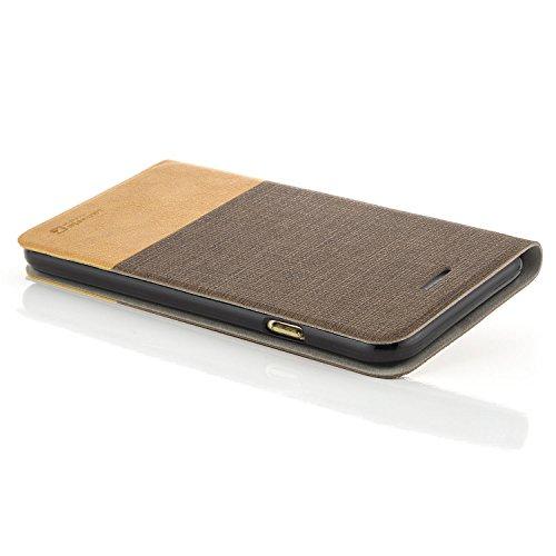 """zanasta Designs Tasche Apple iPhone 6 / 6S (4,7"""") Hülle + 3D Panzerglas (Full Cover) Flip Case Slim Schutzhülle Handytasche mit Kartenfach, Standfunktion Grau [Glas mit weißem Kunststoffrand] Braun"""