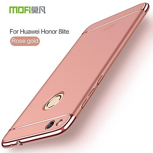 HuaWei Honor 8 Lite Hülle - Meimeiwu Elektroplattierter Kappen mit einer Matter Oberfläche 3-Teilige Styliche Extra Dünne Harte Schutzhülle Case für HuaWei Honor 8 Lite - Silber Rose Gold