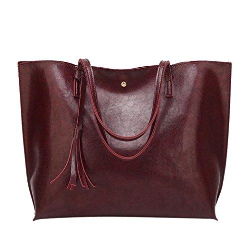 Longra Borsa a tracolla della borsa della spalla della decorazione della nappa del cuoio dellunità di elaborazione delle donne di modo Coffee