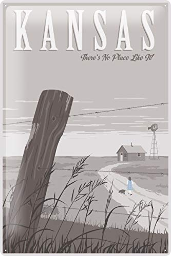 Rebecca Simpson 8x12 Tin Sign World Trip Kansas Country House Fence Post Decorative Wall Plate -