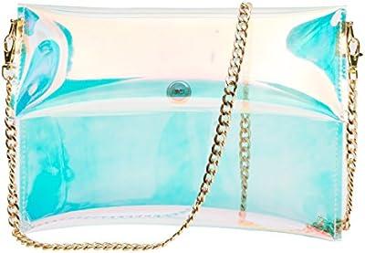 Zarapack bolsa transparente de PVC adhesivos holograma de la mujer transparente bolso de embrague bolso de mano