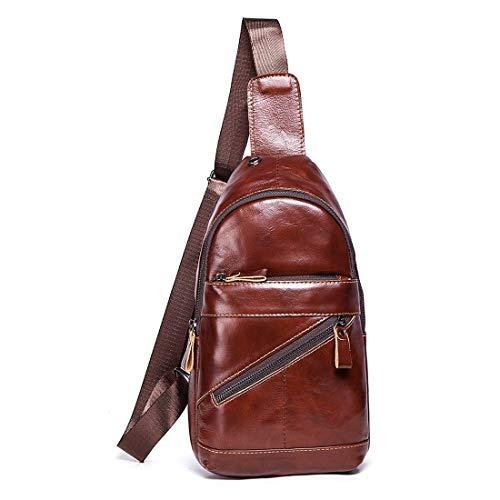HRTX Mode für Männer Leder Brusttasche wasserdicht Schulter Rucksack mit USB-Ladeanschluss & Kopfhörer Loch Casual Daypack Reisen Wandern Radfahren Outdoor-Sport (Color : A) -
