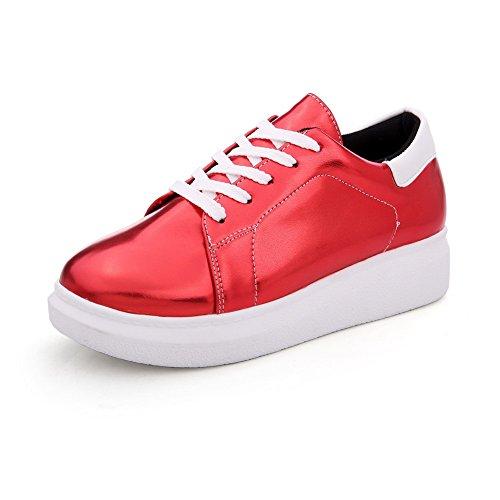 AgooLar Damen Rund Zehe Niedriger Absatz Weiches Material Rein Schnüren Pumps Schuhe Rot