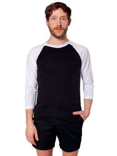 4 3 Sleeve T-shirt-männer (American Apparel Poly-Cotton 3/4 Sleeve Raglan Shirt - Black / White / S)