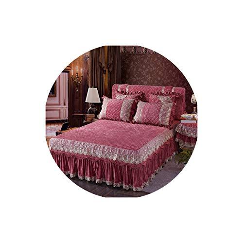 Lovtiful- Lace Bedding Dickes Fleece Warm-Bett Verbreiten bedskirt King/Queen-Size-Bettwäsche-Satz-Rosa-Blau Lila Spitze Bedsheets, 2,200X220Cm 5Pcs -