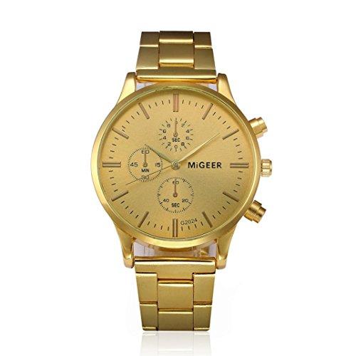 Sonnena Männer Armbanduhren, Mode Business Herrenuhr Casual Gelb Metallband Armbanduhren Klassik Kristall Edelstahl Analoge Quarz Handgelenk Uhr Chronograph (Gold)