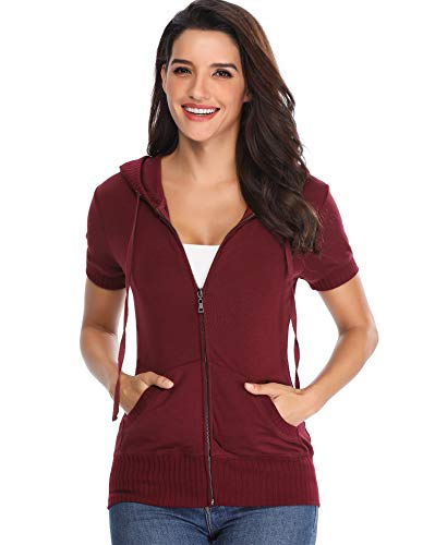 Damen Kapuzenjacke mit Reißverschluss Plain mit kurzen Ärmeln Mode Gym Sweatshirt Fronttaschen ärmel Hemden Rot Outwear - M